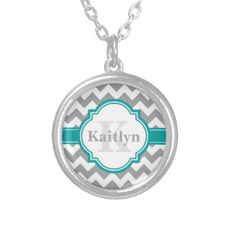Teal Grey Chevron Pattern & Moroccan Quatrefoil Silver Plated Necklace