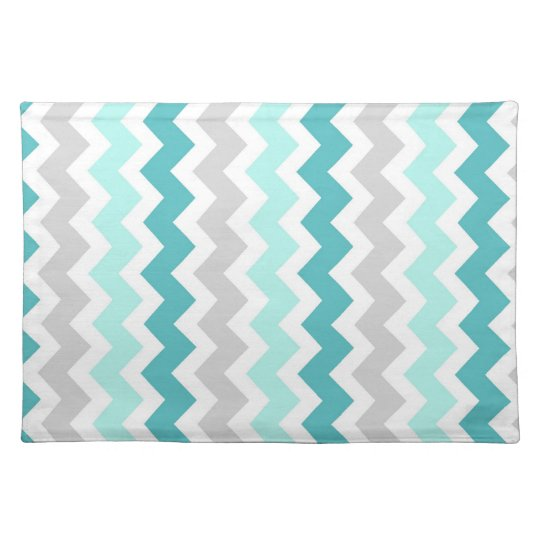 Teal Grey Chevron Pattern Place mats