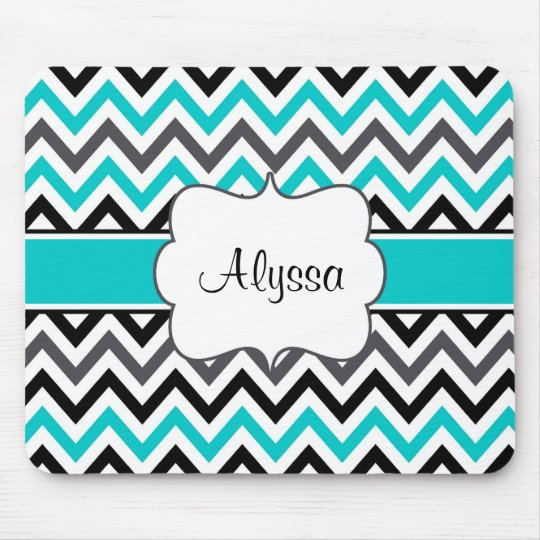 Teal Grey Chevron Personalised Mousepad