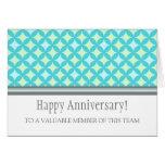 Teal Grey Circles Employee Anniversary Card
