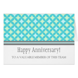 Teal Grey Circles Employee Anniversary Card
