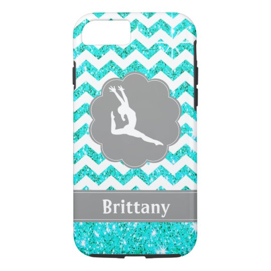 Teal Grey Glitter Look Gymnastics Cell Phone Case