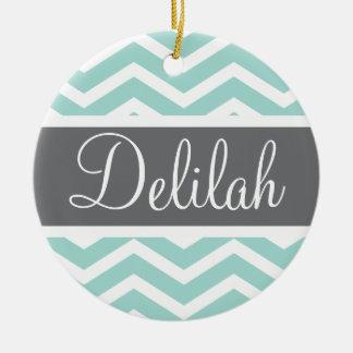 Teal Grey Gray Chevron Custom Christmas Ornament