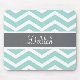 Teal Grey Gray Chevron Custom Mouse Mat