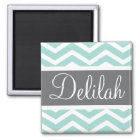 Teal Grey Grey Chevron Custom Magnet