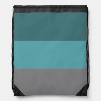 Teal, Grey Stripes Drawstring Bag