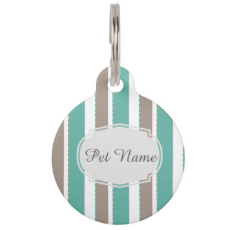 teal grey stripes pet tag
