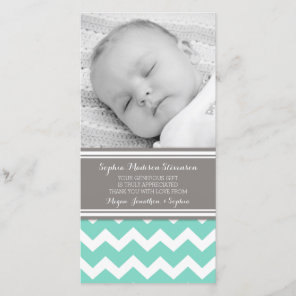 Teal Grey Thank You Baby Shower Photo Cards