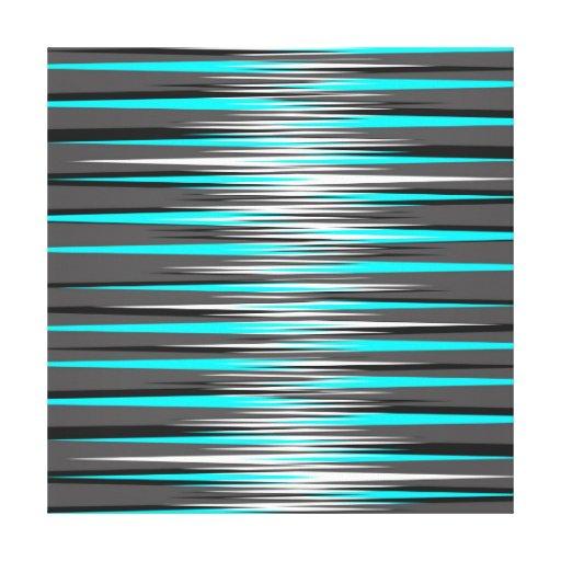 Teal, Grey, White, & Black Stripes Canvas Prints