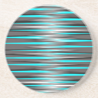 Teal, Grey, White, & Black Stripes Coaster