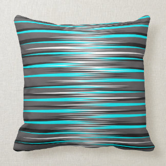 Teal, Grey, White, & Black Stripes Cushion