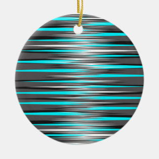 Teal, Grey, White, & Black Stripes Christmas Ornaments