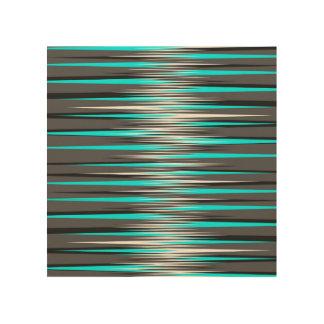 Teal, Grey, White, & Black Stripes Wood Print