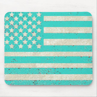 Teal grunge American flag Mouse Pads