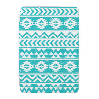 Teal Grunge Aztec Tribal Pattern iPad Mini Cover