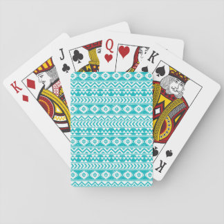 Teal Grunge Aztec Tribal Pattern Playing Cards