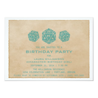 Teal Grunge D20 Dice Gamer Birthday Party Invite