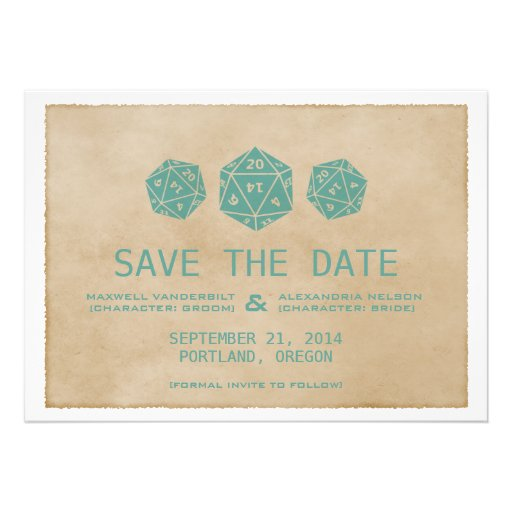 Teal Grunge D20 Dice Gamer Save the Date Invite