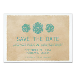 """Teal Grunge D20 Dice Gamer Save the Date Invite 5"""" X 7"""" Invitation Card"""