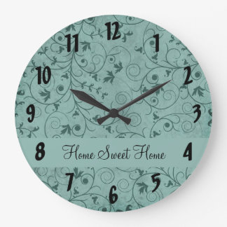 Teal Grungy Floral Clock