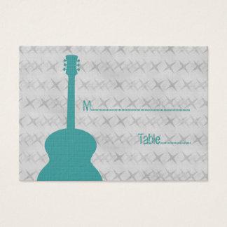 Teal Guitar Grunge Place Card