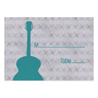 Teal Guitar Grunge Place Card Pack Of Chubby Business Cards