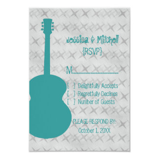 "Teal Guitar Grunge Response Card 3.5"" X 5"" Invitation Card"