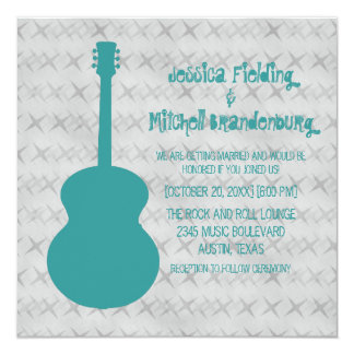 Teal Guitar Grunge Wedding Invite