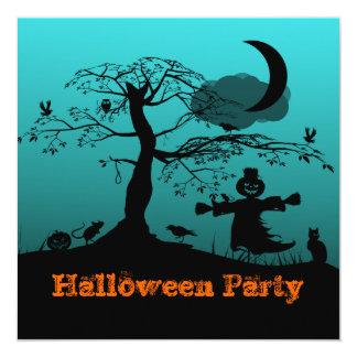 "Teal Halloween Scene Invitation 5.25"" Square Invitation Card"
