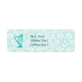Teal Harp Return Address Label