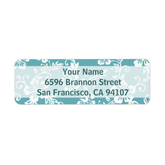 Teal Hawaiian Address Labels