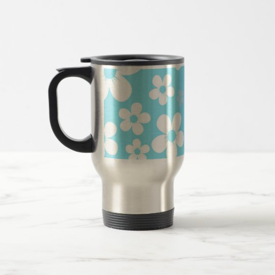 Teal Hawaiian Flower travel mug