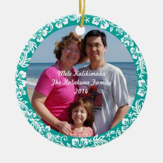 Teal Hawaiian Hibiscus Christmas Photo Ornament