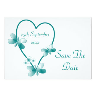 Teal Heart And Butterflies Save The Date Card