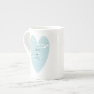 Teal Heart Bone China Mug