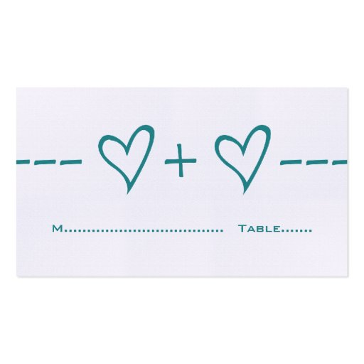 Teal Heart Equation Place Card Business Card Template