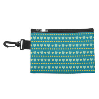 Teal heart pattern Accessory bag with paper clip