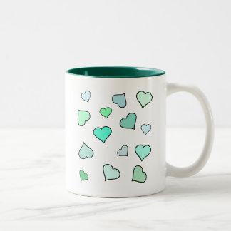 Teal Heart Pattern Mug