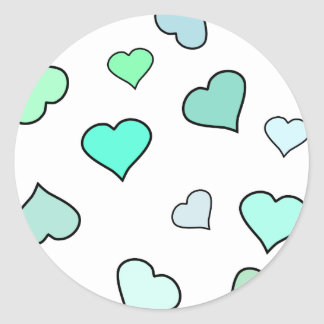 Teal Heart Pattern Stickers