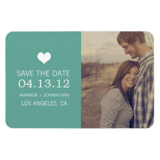 Teal Heart Photo Save The Date Magnet