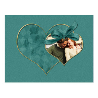 Teal Heart Photo Save The Date Postcard