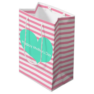 Teal Heart & Pink Stripes   Mother's Day Gift Bag