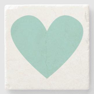 Teal Heart Stone Beverage Coaster