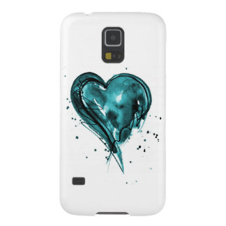 Teal Heart Watercolor Cases For Galaxy S5