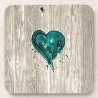 Teal Heart Watercolor on Wood Coasters