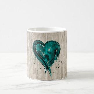 Teal Heart Watercolor on Wood Mugs