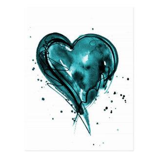 Teal Heart Watercolor Postcard