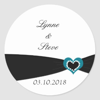 Teal Heart with Black Ribbon Save the Date Round Sticker