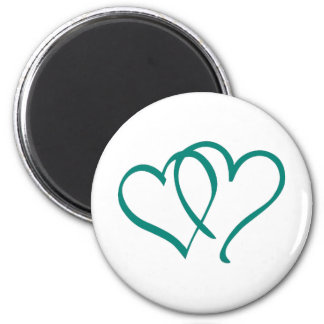 Teal Hearts 6 Cm Round Magnet