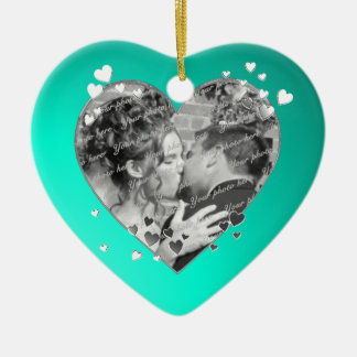 Teal Hearts and Ribbon Photo Christmas Ornament